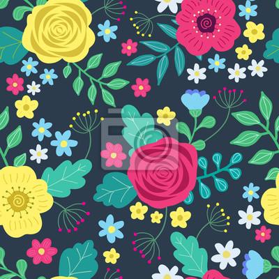89854a9377fa60 Floral kolorowe wzorek bez szwu z czerwonym i żółtym róż i niebieskie kwiaty  i zielone liście. Ilustracji wektorowych