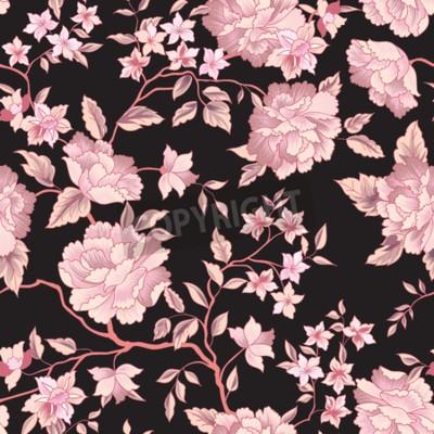 Fototapeta Floral pattern. Flower seamless background. Flourish ornamental garden