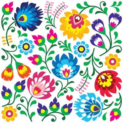 Fototapeta Floral Polish folk art pattern in square - Wycinanki