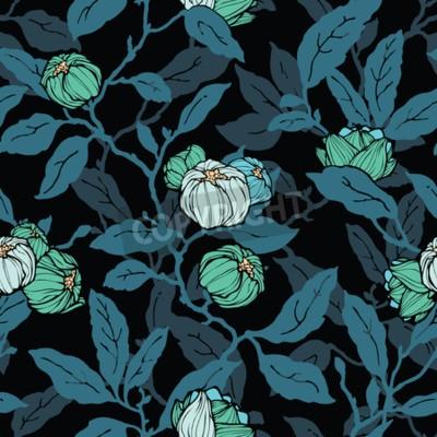 Fototapeta Floral seamless pattern. Abstract ornamental flowers. Flourish leaves background