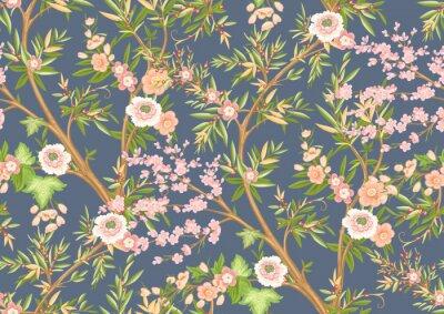 Fototapeta Floral seamless pattern in chinoiserie style. Vector illustration.