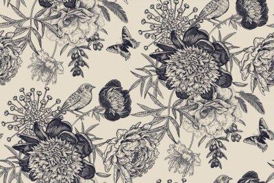 Fototapeta Floral seamless pattern with garden flowers peonies, bird and butterflies.
