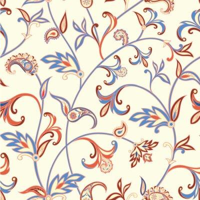 Fototapeta Floral szwu. Kwiat tła wirować. Arabski ornament z fantastycznych kwiatów i liści.