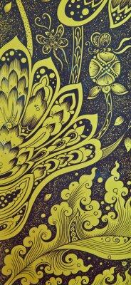 Fototapeta Floral Thai sztuki na drzwi świątyni