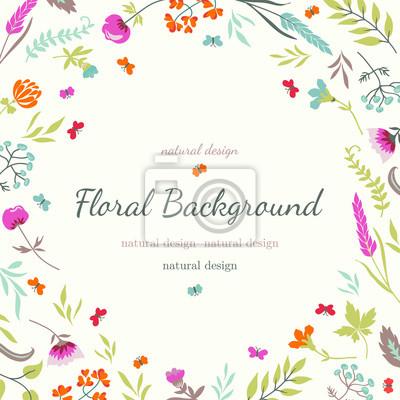 Floral tle z kwiatami i ziołami