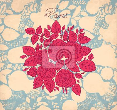 Fototapeta Floral zabytkowe tła z róż