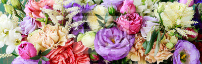 Fototapeta Flower background with rose, eustoma, carnation and spiraea.