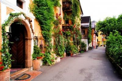 Fototapeta Flower lined street in the traditional Austrian village of Hallstatt