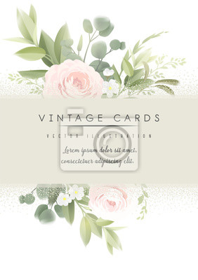 Flowers. Greeting card with roses , can be used as invitation card for wedding, birthday and other holiday and  summer background. Vector illustration art