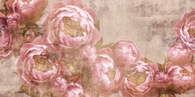 Fototapeta Flowers painted on a concrete wall. Peonies on the wall grunge texture. Photo wallpaper, mural, wallpaper, design for walls.