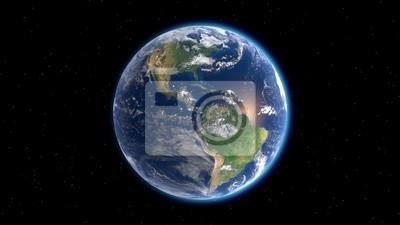 Fototapeta Flying over the earth's surface, 3D rendering.