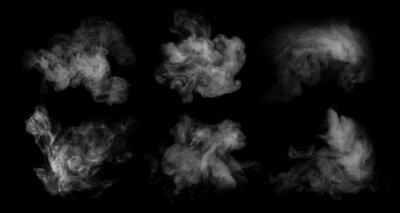 Fototapeta Fog or smoke set isolated on black background. White cloudiness, mist or smog background.