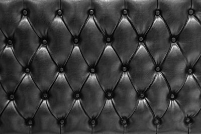 Fototapeta Fondo de textura de cuero acolchado en negro tipo Chesterfield