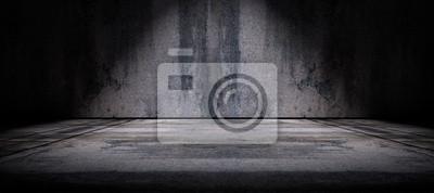 Fototapeta Fondo pared y suelo  de cemento en la oscuridad