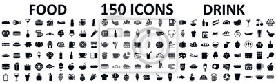 Fototapeta Food and drinks set 150 icons for menu, infographics, design elements – stock vector