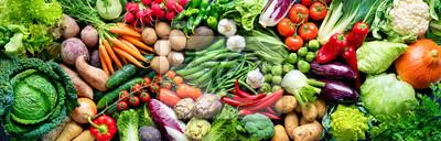 Fototapeta Food background with assortment of fresh organic vegetables