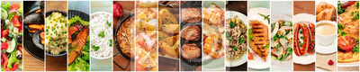 Fototapeta Food Collage. A design template with many tasty dishes