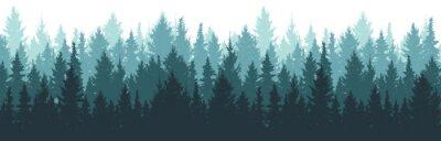 Fototapeta Forest background, nature, landscape. Pine, spruce, christmas tree. Fog evergreen coniferous trees. Silhouette vector