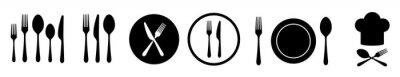Fototapeta Fork knife and spoon set vector icons