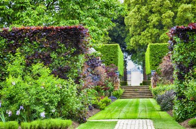 Fototapeta Formal summer garden with grass path to stone stairs and iron gate