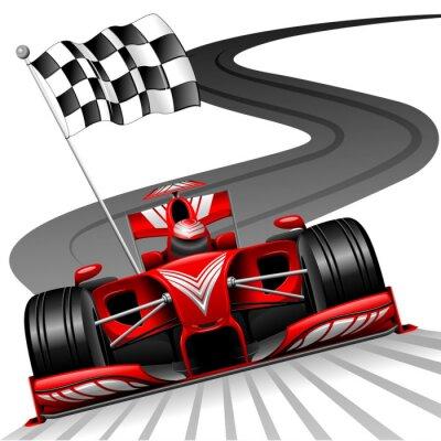 Fototapeta Formuła 1 czerwony samochód na tor wyścigowy