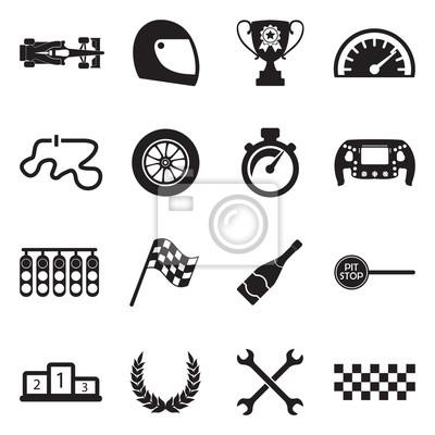 Fototapeta Formula 1 Icons. Black Flat Design. Vector Illustration.