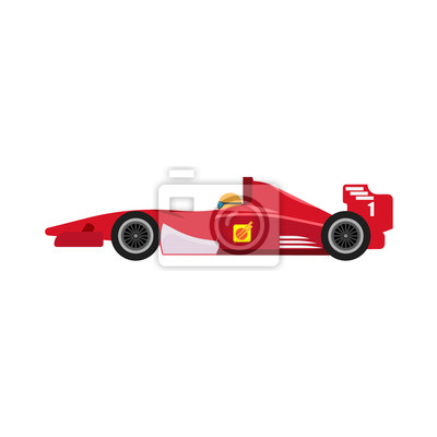 Fototapeta Formula 1 red racing car side view vector icon. Championship one motorsport extreme f1 vehicle drive