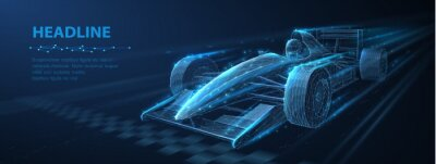 Fototapeta Formula One f1. Abstract vector 3d f 1 bolide rasecar on speedway. Fast motion. Finish line. Success in competition, rase winner, business win concept.