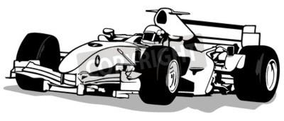 Fototapeta Formula One - kierowca i samochód wyścigowy Ilustracja