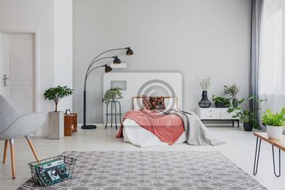 Fotel I Dywan W Wnętrzu Mieszkania Z Roślinami I Lampą Obok łóżka Fototapety Redro