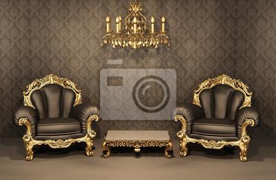 Fototapeta fotele z z ota ramki w starym wn trzu for Salon egyptien