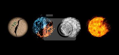 Fototapeta Four elements isolated on black.
