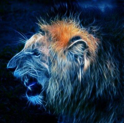 Fototapeta Fractal cyfrowy fantazja sztuki lwa na tle pojedyncze
