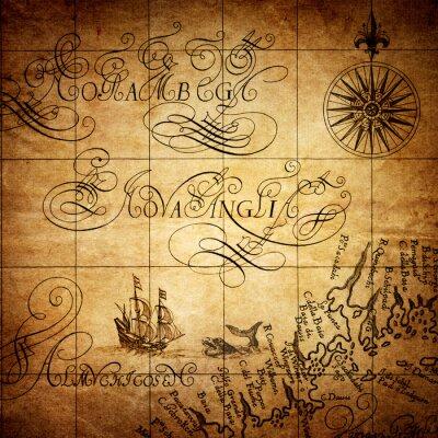 Fototapeta Fragment starej mapy Ameryki 1640