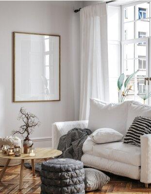 Fototapeta Frame mockup in Scandinavian living room interior, 3d render
