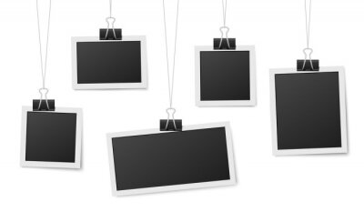 Fototapeta Frames hang on clips. Photo frame hanging, photos clothespin and rope. Retro blank templates for photography, memory image recent vector concept