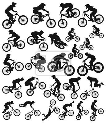 Fototapeta Freeride downhill cross country próba slopestyle dirt jump bmx and mountain bike rowery kolekcja sylwetka wektor