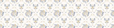Fototapeta French damask shabby chic floral linen vector texture border background. Pretty daisy flower banner seamless pattern. Hand drawn floral interior home decor ribbon trim. Classic rustic farmhouse style.