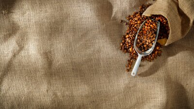 Fresh coffee on a jute sack in the Brazilian morning with free space for an advertising product