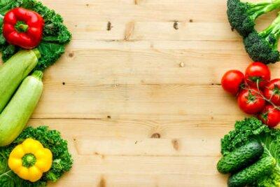 Fototapeta Fresh colorful organic vegetables - farming and healthy food, top view