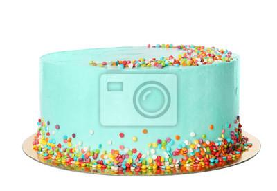 Fototapeta Fresh delicious birthday cake on white background