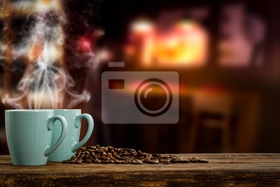 fresh hot coffee in mug and free space for your decoration.