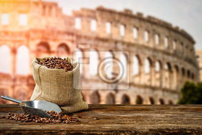 Fresh hot italy coffee and free space for your decoration