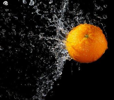 Fototapeta Fresh orange w plusk wody