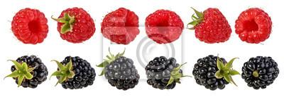 Fototapeta Fresh raspberry and blackberry isolated on white background