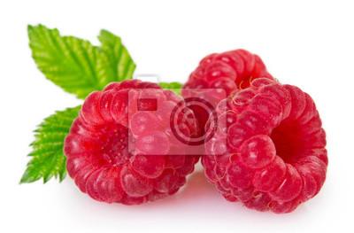 Fototapeta Fresh raspberry on white background