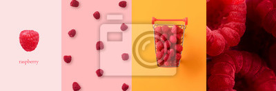Fototapeta Fresh ripe raspberries panoramic collage, healthy eating concept, food background with summer berries. Creative minimalism