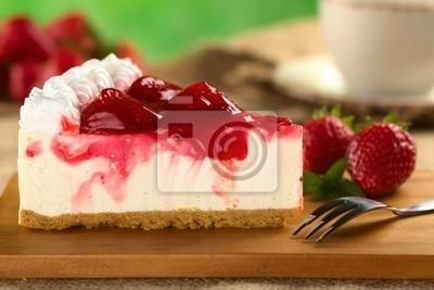 Fototapeta Fresh Strawberry Cheesecake (selektywna fokus)