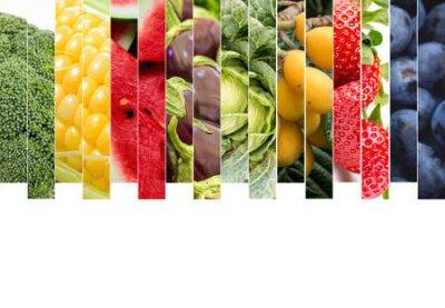 Fototapeta Fresh vegetables and fruits collage. Various vegetables and fruits background.