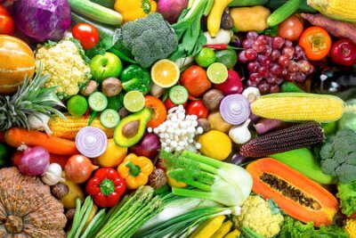 Fototapeta Fresh vegetables and fruits,Colorful fruits and vegetables,clean eating,vegetables and fruits background,top view,Set of fruits and vegetables,Food concept.
